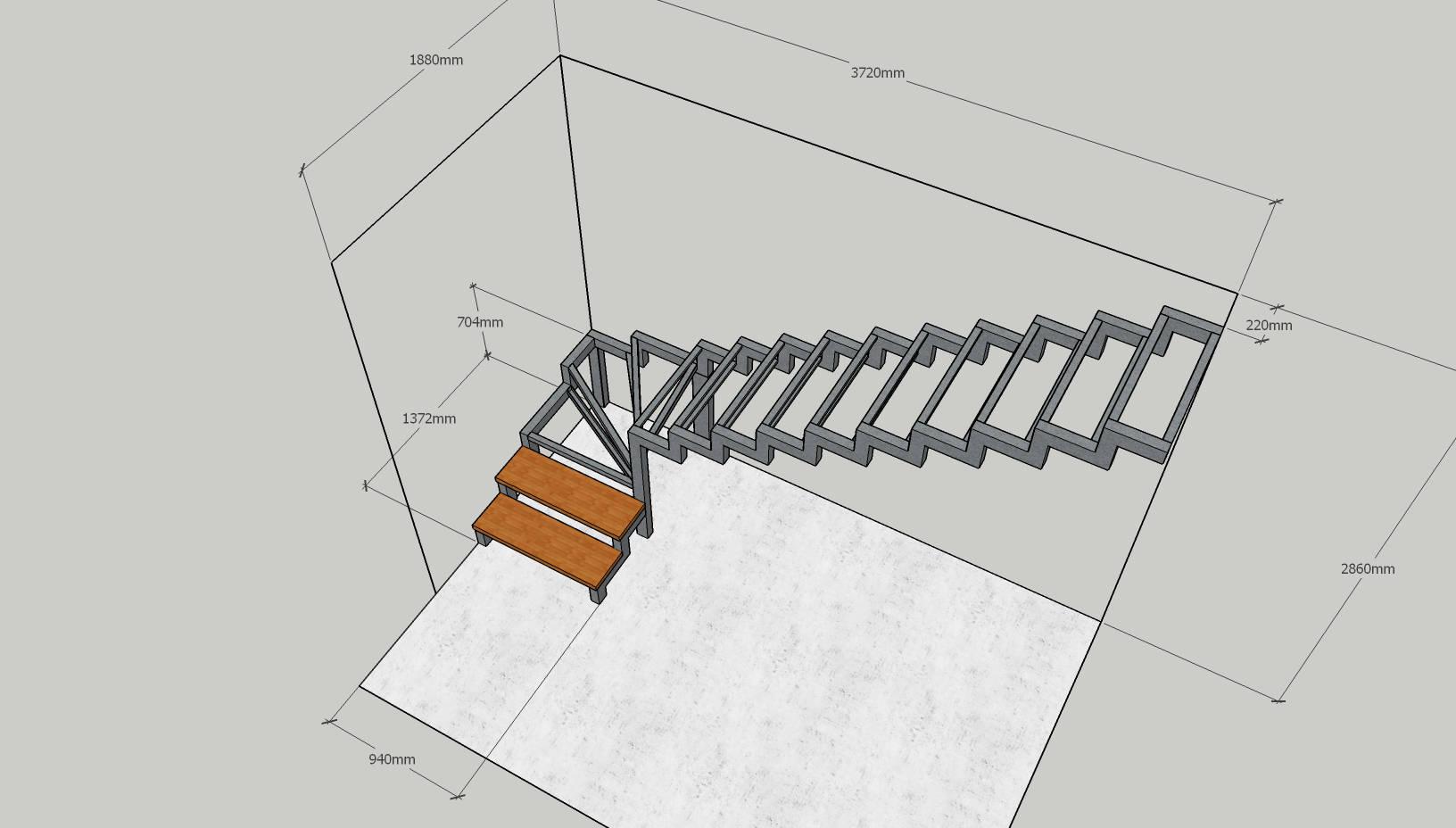 Чертеж каркасной лестницы