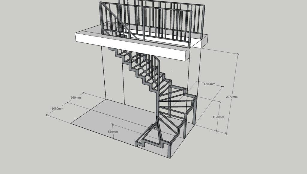 Чертеж лестницы с разворотом
