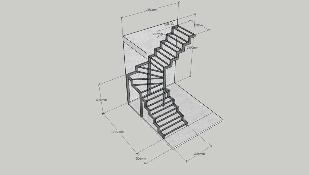 Чертеж фигурной лестницы