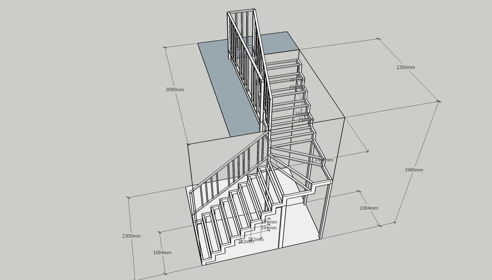Лестница с забежным разворотом